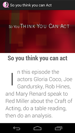 So you think you can Act