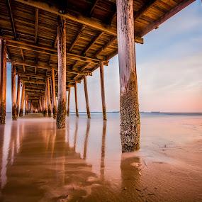 Sunrise Pier by Givanni Mikel - Buildings & Architecture Bridges & Suspended Structures ( sand, pier, ocean, beach, sunrise,  )