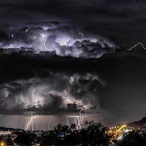 Heatwave catalyst by Alexius van der Westhuizen - Landscapes Weather ( lightning, heatwave, thunderbolts, cracking, summer, electric storm, rains, towering clouds,  )