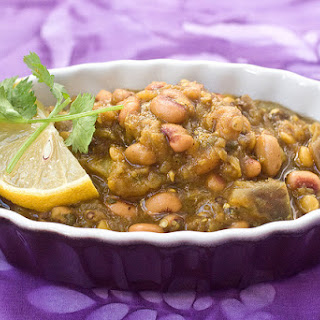 Eggplant & Black Eyed Pea Curry.