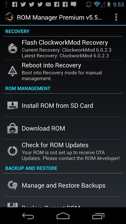 ROM Manager- screenshot
