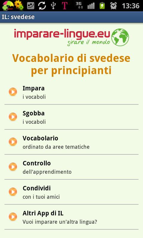 Imparare lo svedese- screenshot