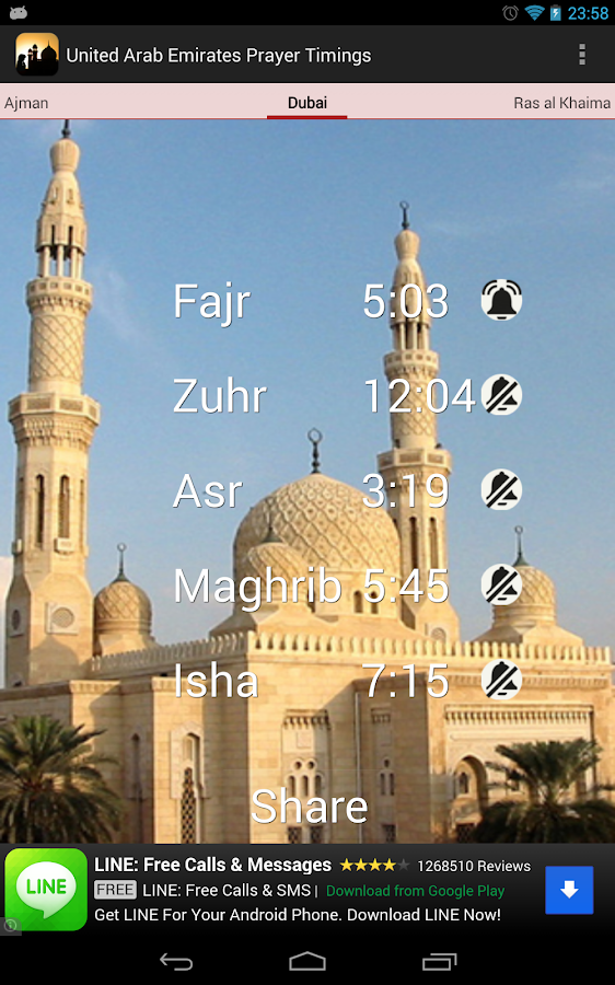 UAE Prayer Timings (Times) - screenshot