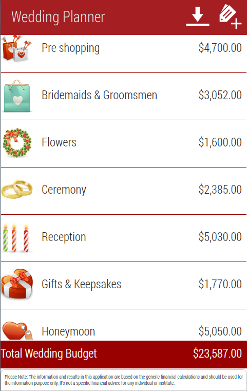 Wedding Planner - screenshot