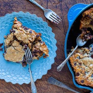 Chocolate Chip Peanut Butter Oatmeal Skillet Cookie.