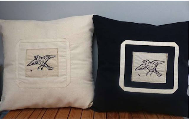 Bird Free Hand Machine Embroidered Cushion - Cream