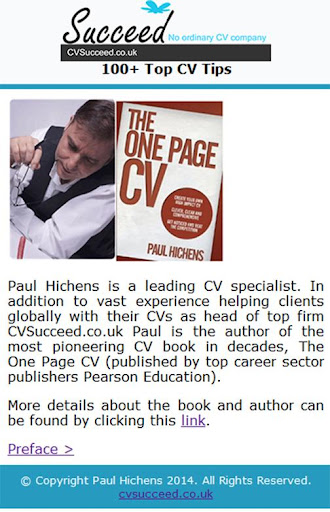 Over 100 Top CV Tips ~ Free