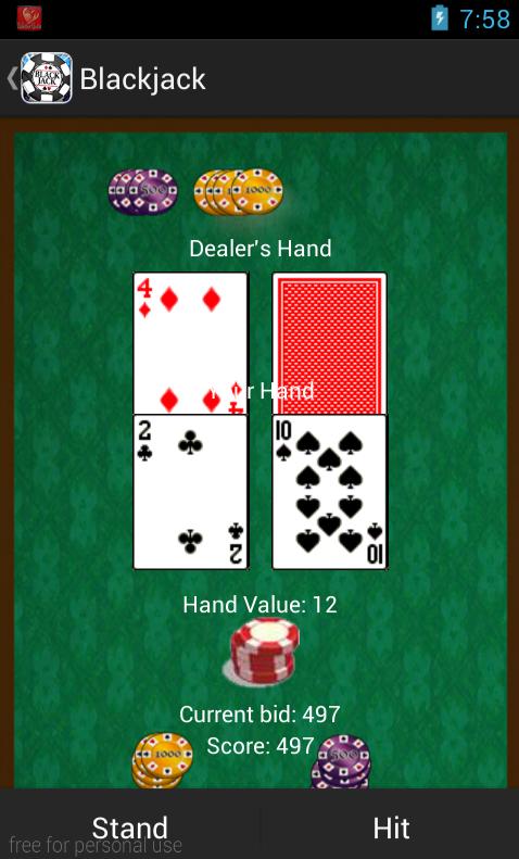 Blackjack against computer