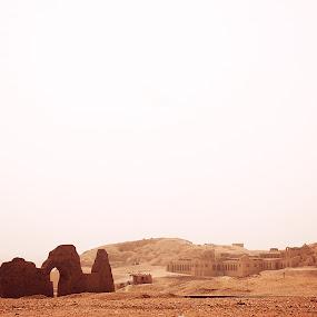 Deir el-Medina by Kajsa Karlsson - Landscapes Deserts ( sand, orange, luxor, desert, ruin, ruins, storm, egypt,  )