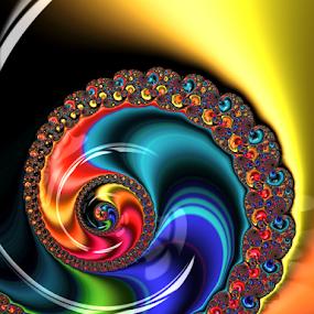 Glass Jewels by Pat Eisenberger - Digital Art Abstract ( abstract, glass, spiral, fractal, rainbow )