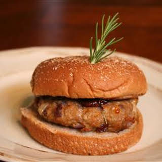 Turkey Burgers with Brie, Cranberries, and Fresh Rosemary.