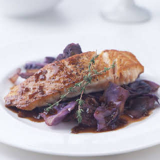 Pan-Seared Salmon Over Red Cabbage and Onions with Merlot Gastrique.