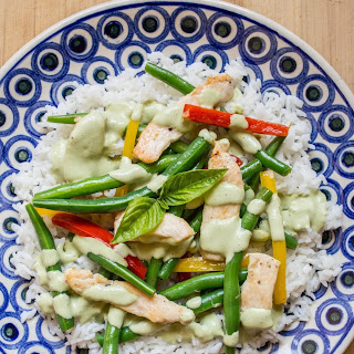 Chicken and Green Bean Stir-Fry with Basil-Sour Cream Sauce.