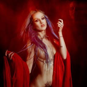 Icarus by CEBImagery .com - People Body Art/Tattoos ( continuous, red, lighting, cape, woman, dark, tattoo, d'inferno )