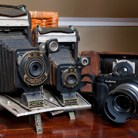 Old and New... by Alan Roseman - Artistic Objects Technology Objects ( old camera, lenses, bellows, old, days gone by, camera, antique camera, kodak, vest pocket, antique,  )