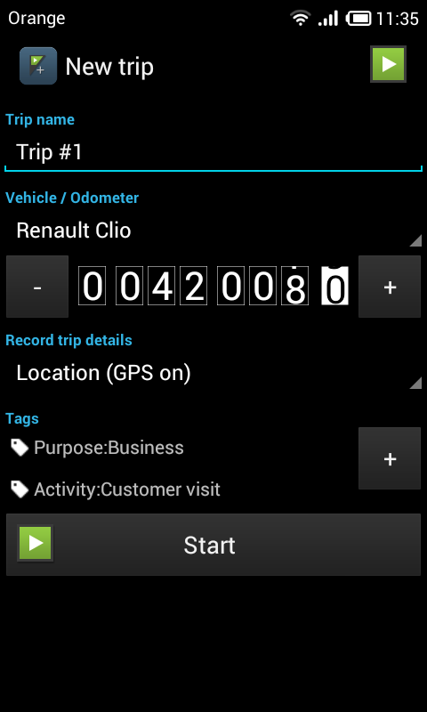 GPS Mileage Tracker - screenshot