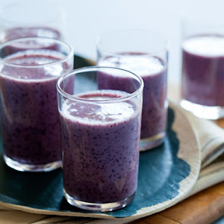 buttermilk smoothie spoon fork bacon blueberries bananas buttermilk ...