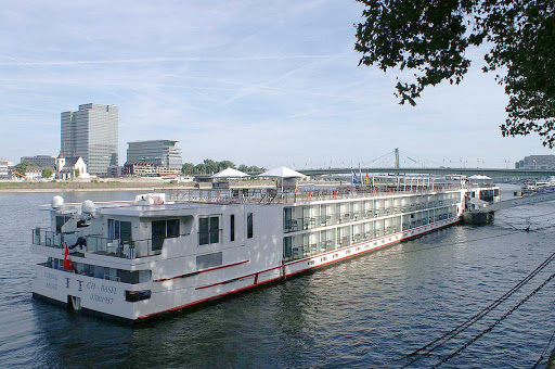 Viking-Aegir-Cologne-2 - Maiden voyage of the river cruise ship Viking Aegir in Cologne, Germany.