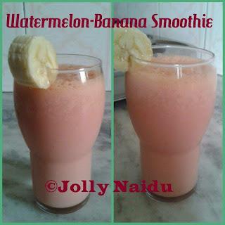 Yummy Watermelon-Banana Smoothie.