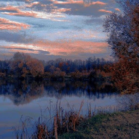 Lake  in Autumn by Nat Bolfan-Stosic - Nature Up Close Water ( sky, autumn, sunset, fish, lake )