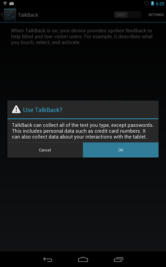 Google Talkback - screenshot