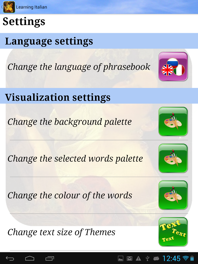 Learning Italian (Phrasebook)- screenshot