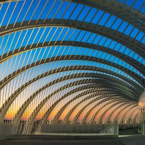 Sunset Arches by Lynn Wiezycki - Buildings & Architecture Architectural Detail ( building, florida polytecnic university, sunset, florida, arches )
