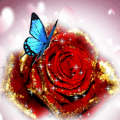 Blue Butterfly On Glitter Rose