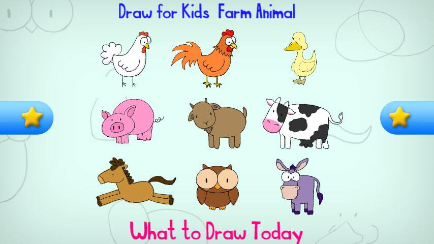 draw for kids farm animal screenshot - Animal Pictures For Kids To Draw