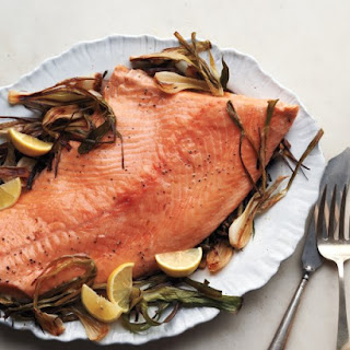 Roasted Salmon and Spring Onions with Mint-Caper Pesto