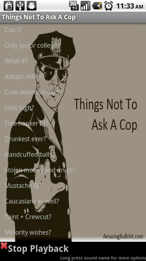 Things Not To Ask A Cop - screenshot