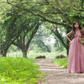 Princess in the Forest by Mochammad Kurniawan - People Portraits of Women ( princess, pink, forest, women )