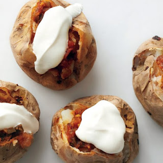 Baked Potatoes with Salsa and Sour Cream.
