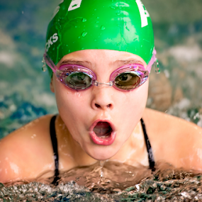 Up Periscope by Bob Grandpre - Sports & Fitness Swimming ( water, green cap, pool, breast stroke, goggles, swimming,  )