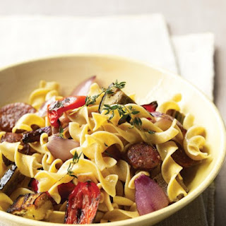 Whole-Wheat Pasta with Chicken Sausage and Roasted Veggies.