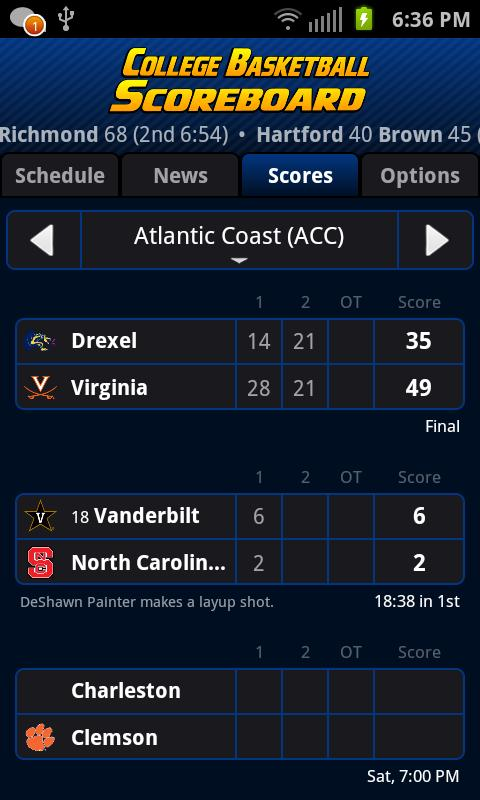 College Basketball Scoreboard+ - screenshot