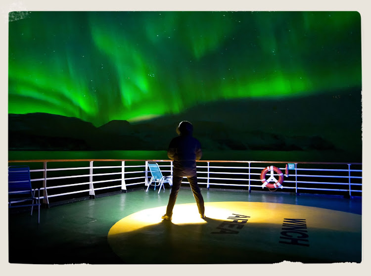 The Northern Lights put on a majestic display for guests aboard Hurtigruten's Vesteralen during a cruise along Norway's coast from Bergen to Kirkenes.