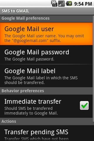 SMS to GMAIL- screenshot