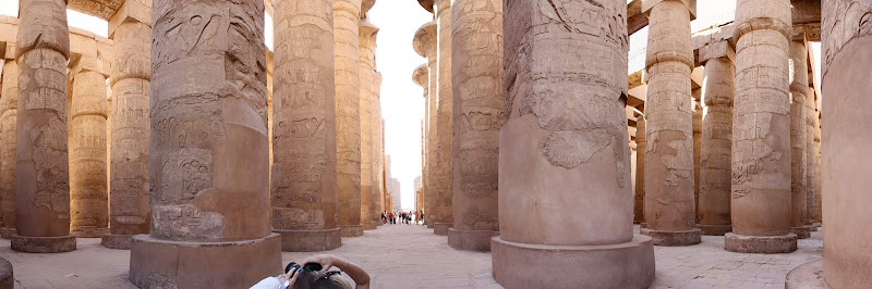 A panoramic view of the Great Hypostyle Hall in Karnak Temple at Luxor, Egypt
