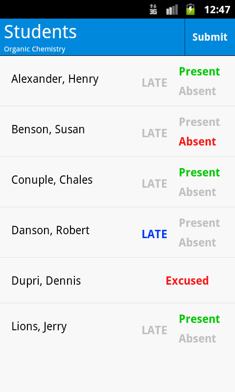 Attendance - screenshot