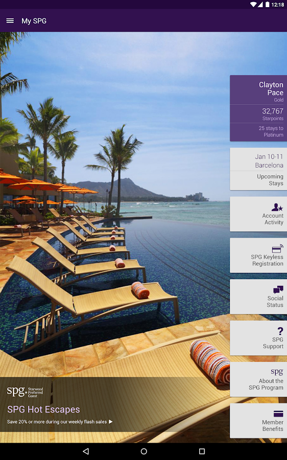 SPG: Starwood Hotels & Resorts - screenshot