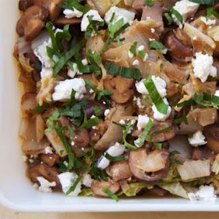 Braised Napa Cabbage with Mushrooms and Gorgonzola.