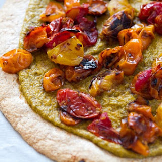Roasted Tomato Tortilla Pizza with Basil Cashew Cheeze.