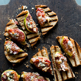 Baked Fig with Bacon, Cheese, Pecans on Bruschetta