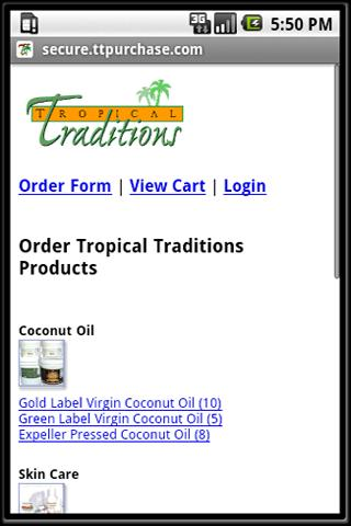 Tropical Traditions Mobile App - screenshot