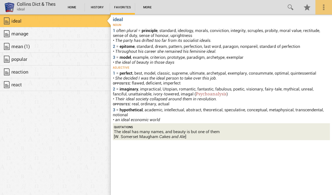 Collins English and Thesaurus - screenshot