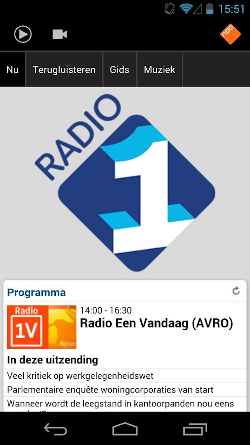 NPO Radio 1 - screenshot