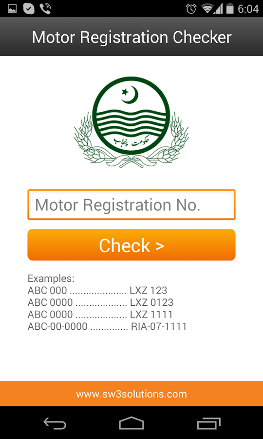 Motor Vehicle Registration Check Driverlayer Search Engine