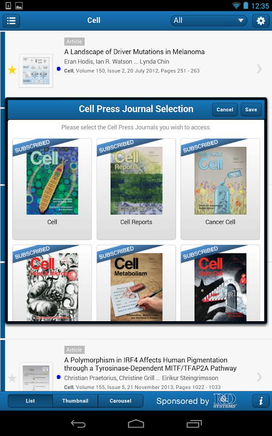Cell Press Journal Reader - screenshot