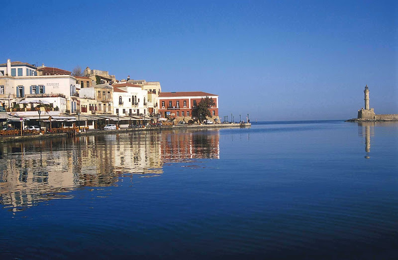 The waterfront of Chania on the island of Crete in Greece.